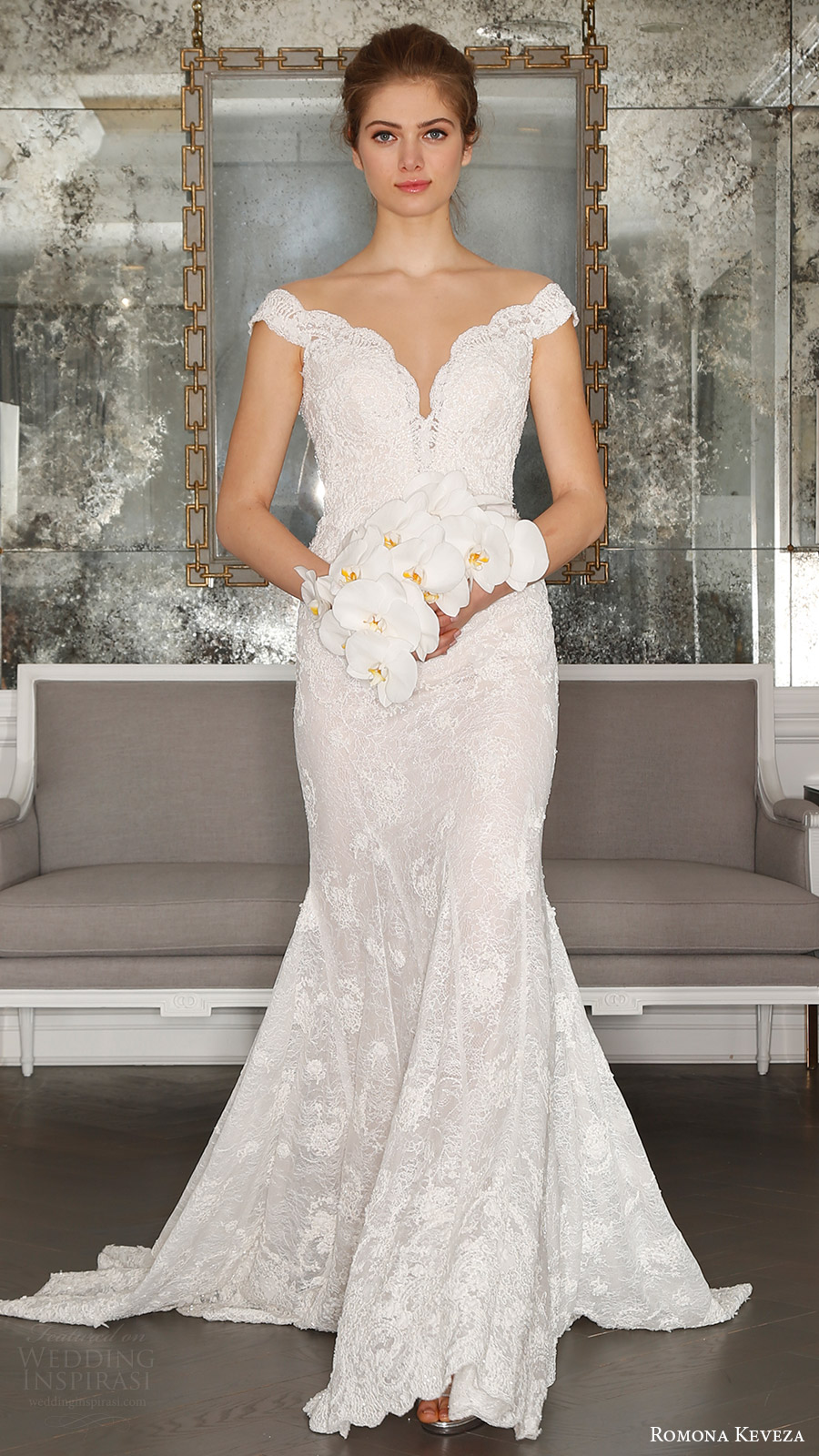 romona keveza bridal spring 2017 off shoulder vneck pearl beaded trumpet wedding dress (rk7406) mv