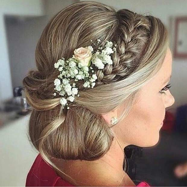 Side Bun Updo with Braids and Flowers