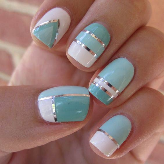 Blue and White Nail Design for Summer