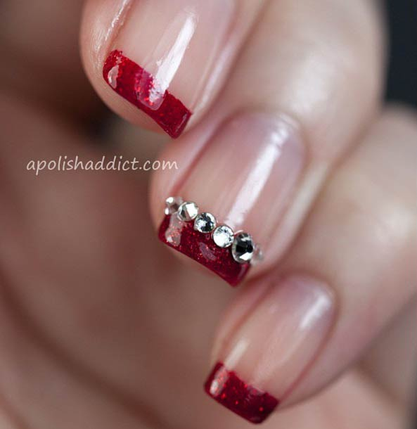 Red Glittery French Tip Nail Design