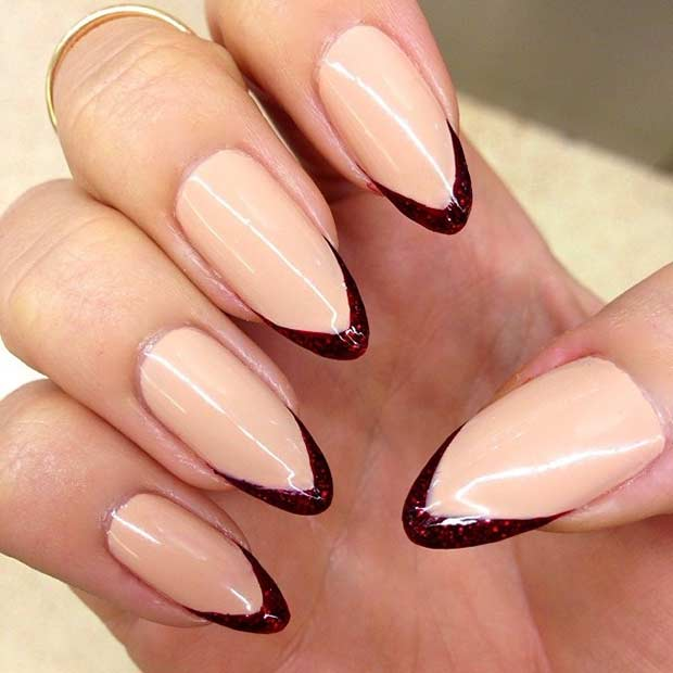 Thin Burgundy French Tip Manicure