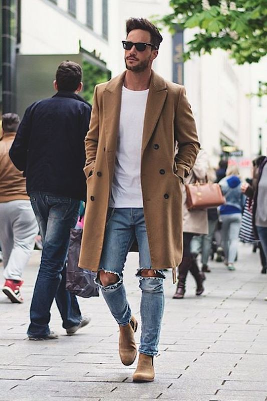 Ripped Skinny Denim With A Brown Overcoat
