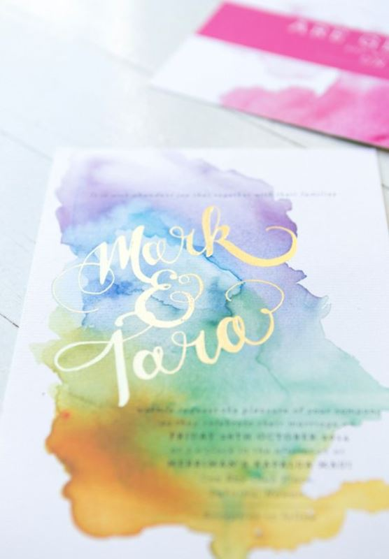 Watercolor Burst Wedding Invitation