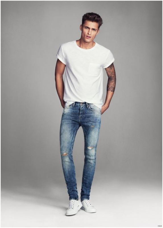 Distressed Skinny Jeans With A Plain White Tee