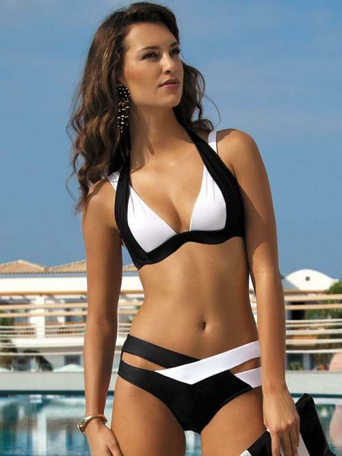 black and white bandage bikini