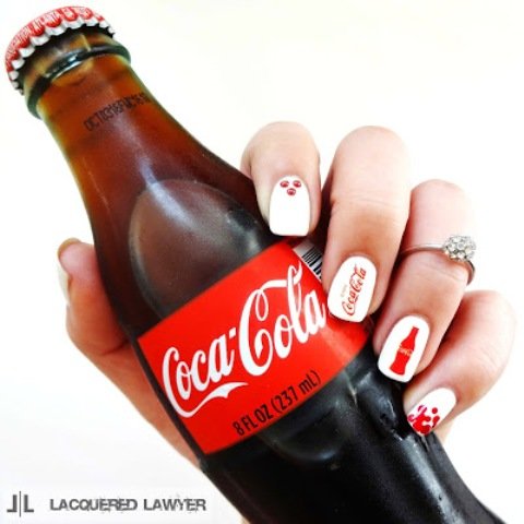 Cheerful DIY Coca Cola Nail Art For Summer