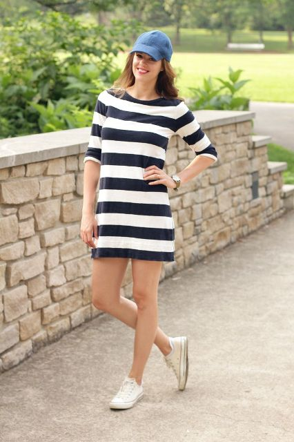 Striped dress with baseball cap