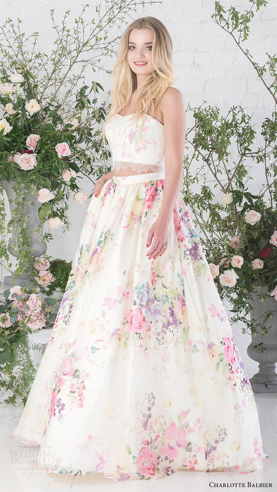 charlotte balbier bridal 2017 strapless sweetheart crop top ball gown skirt (posy) mv floral print