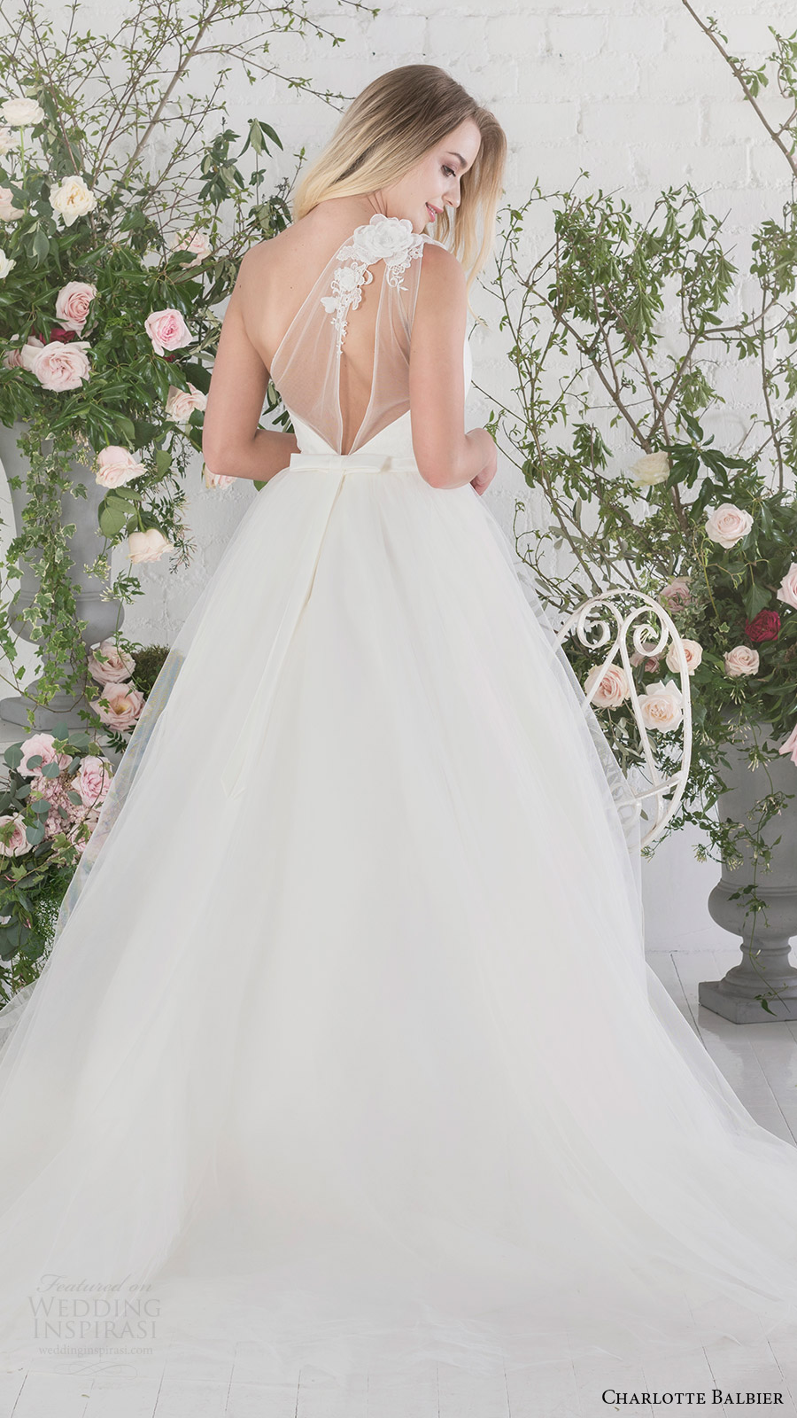 charlotte balbier bridal 2017 sweetheart illusion one shoulder ball gown wedding dress (rosemary) bv train