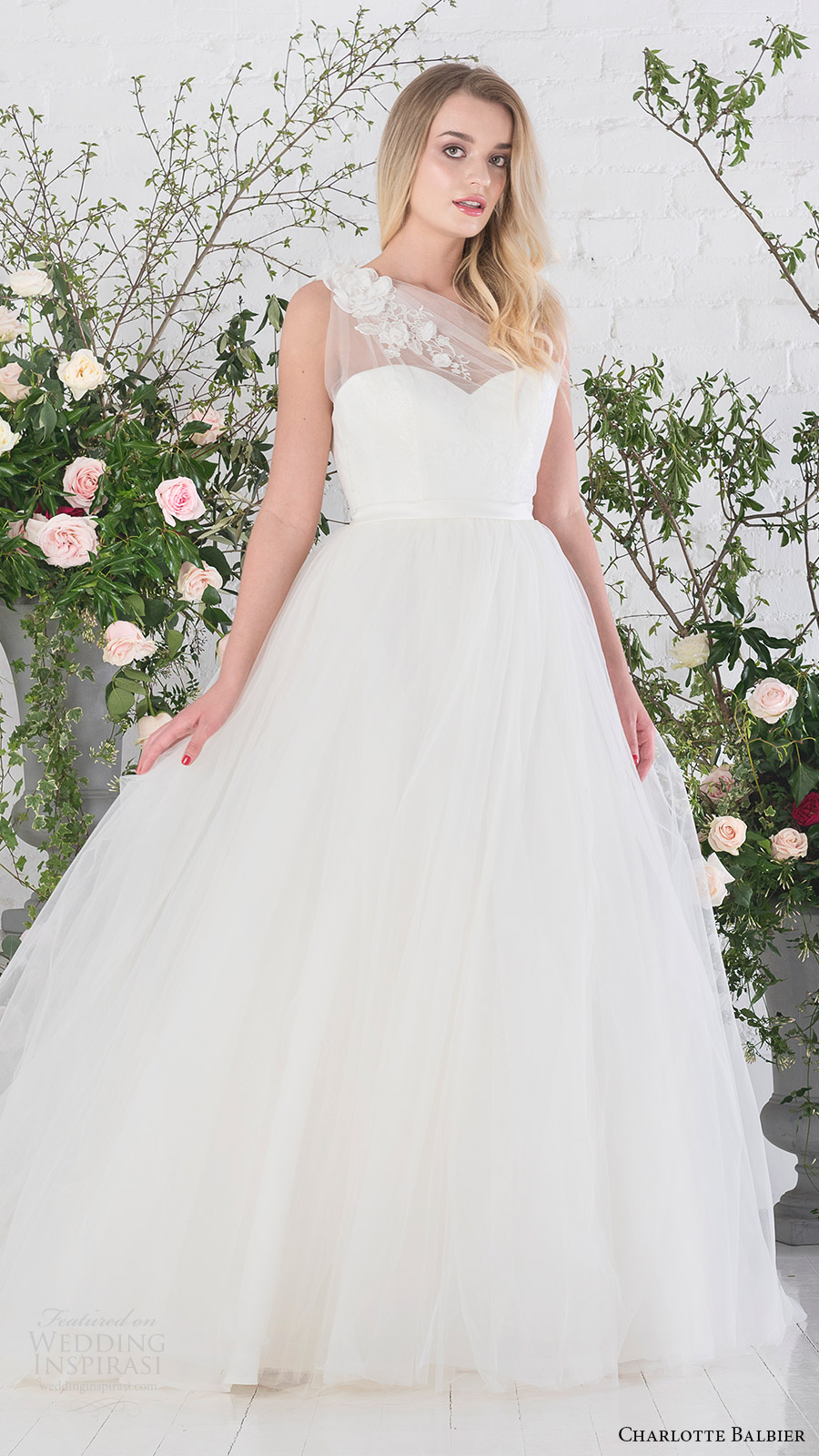 charlotte balbier bridal 2017 sweetheart illusion one shoulder ball gown wedding dress (rosemary) mv