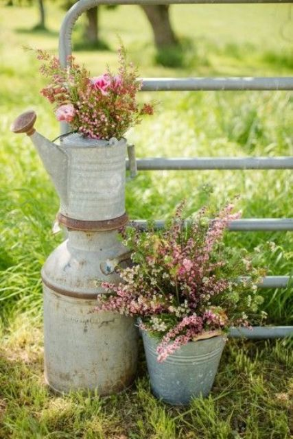 Watering can decor for outdoor weddings