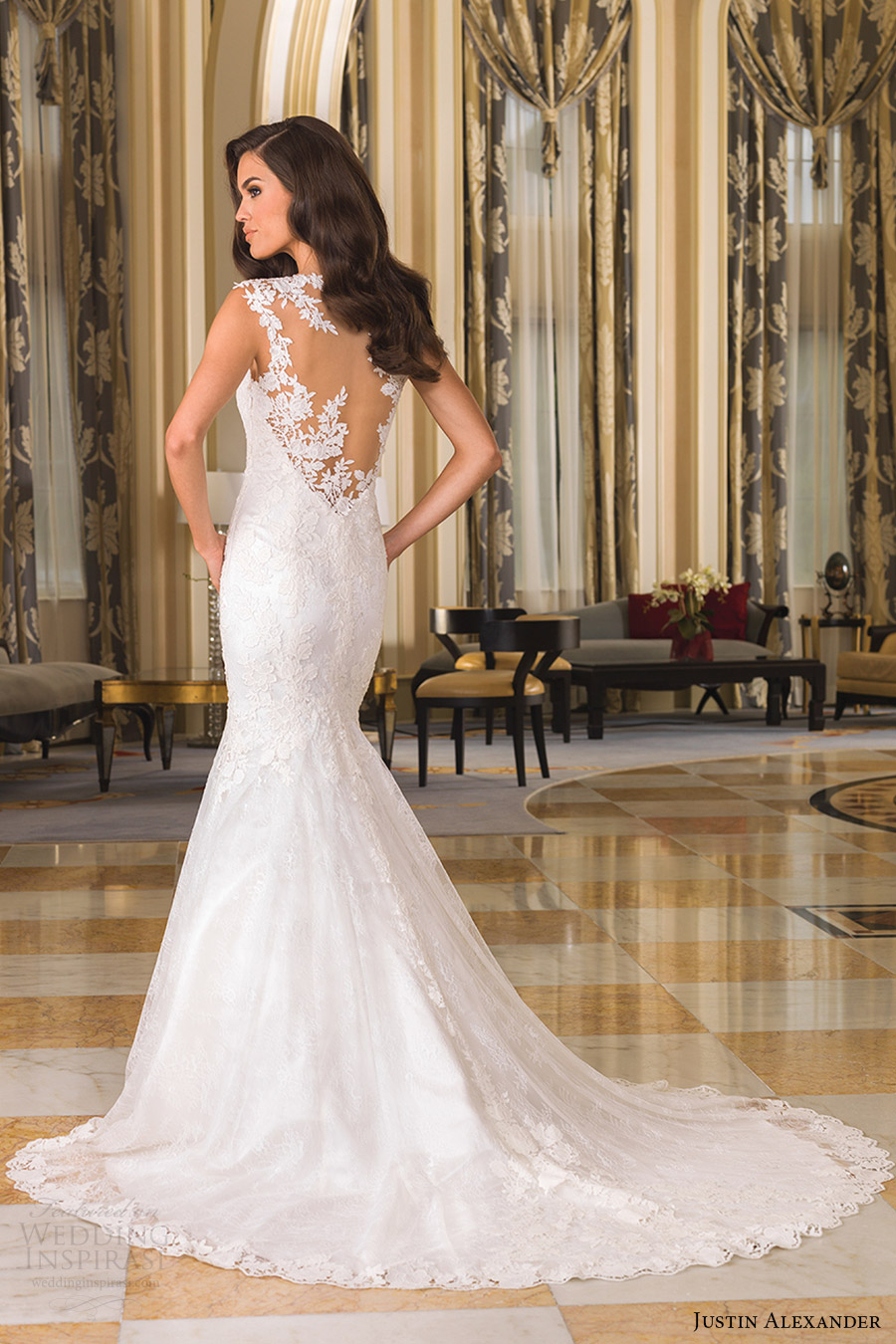 justin alexander bridal fall 2016 cap sleeves vneck fit flare chantilly lace wedding dress (8858) bv sheer back train