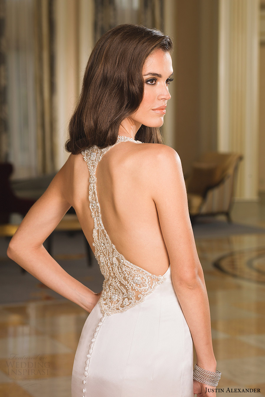 justin alexander bridal fall 2016 sleeveless jewel neckline fit flare wedding dress (8855) zbv racerback train glam