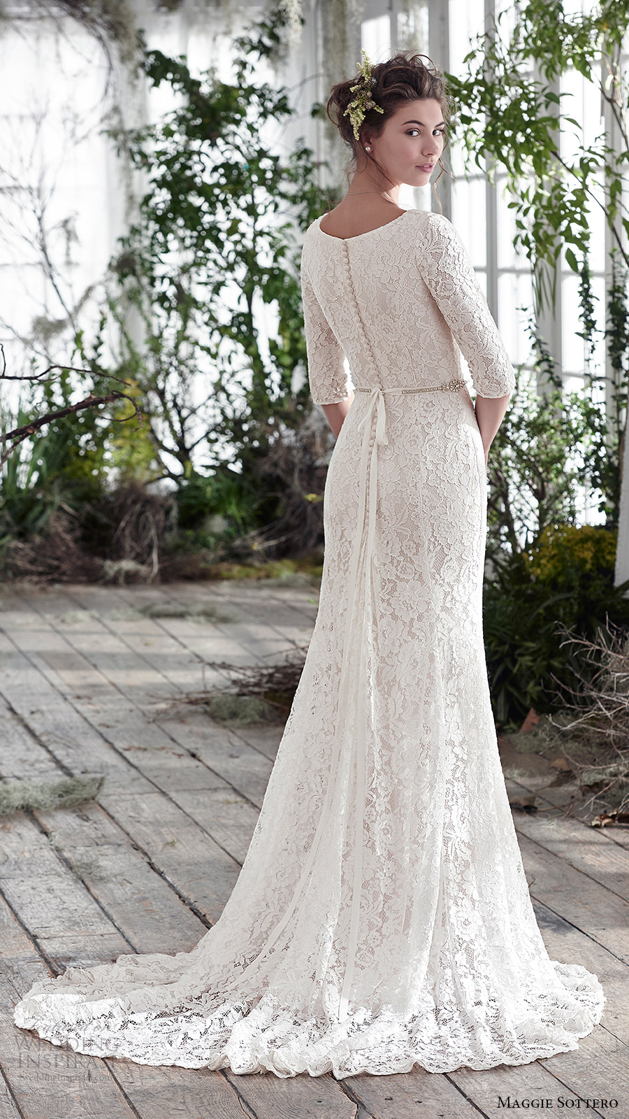 maggie sottero bridal fall 2016 half sleeves scoop neck lace trumpet wedding dress (fairchild) bv train