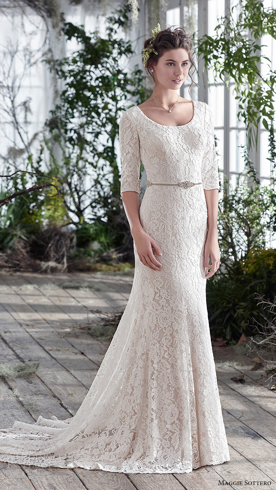 maggie sottero bridal fall 2016 half sleeves scoop neck lace trumpet wedding dress (fairchild) mv train