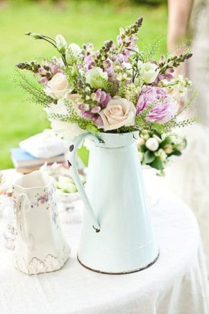 White milk jug with flowers