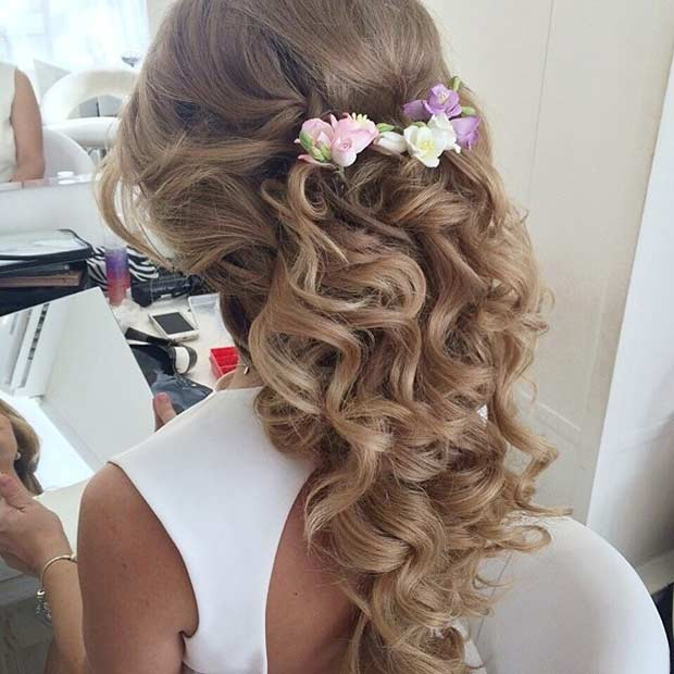 Curly Hair with Flowers for Prom