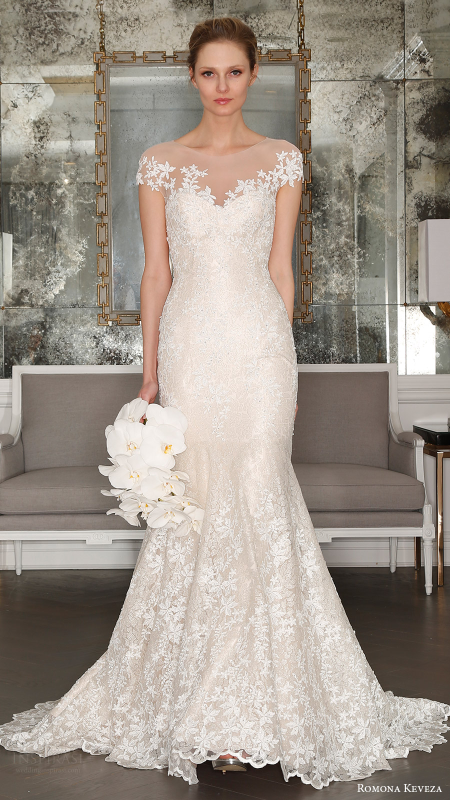 romona keveza bridal spring 2017 illusion cap sleeves trumpet wedding dres (rk7407) mv