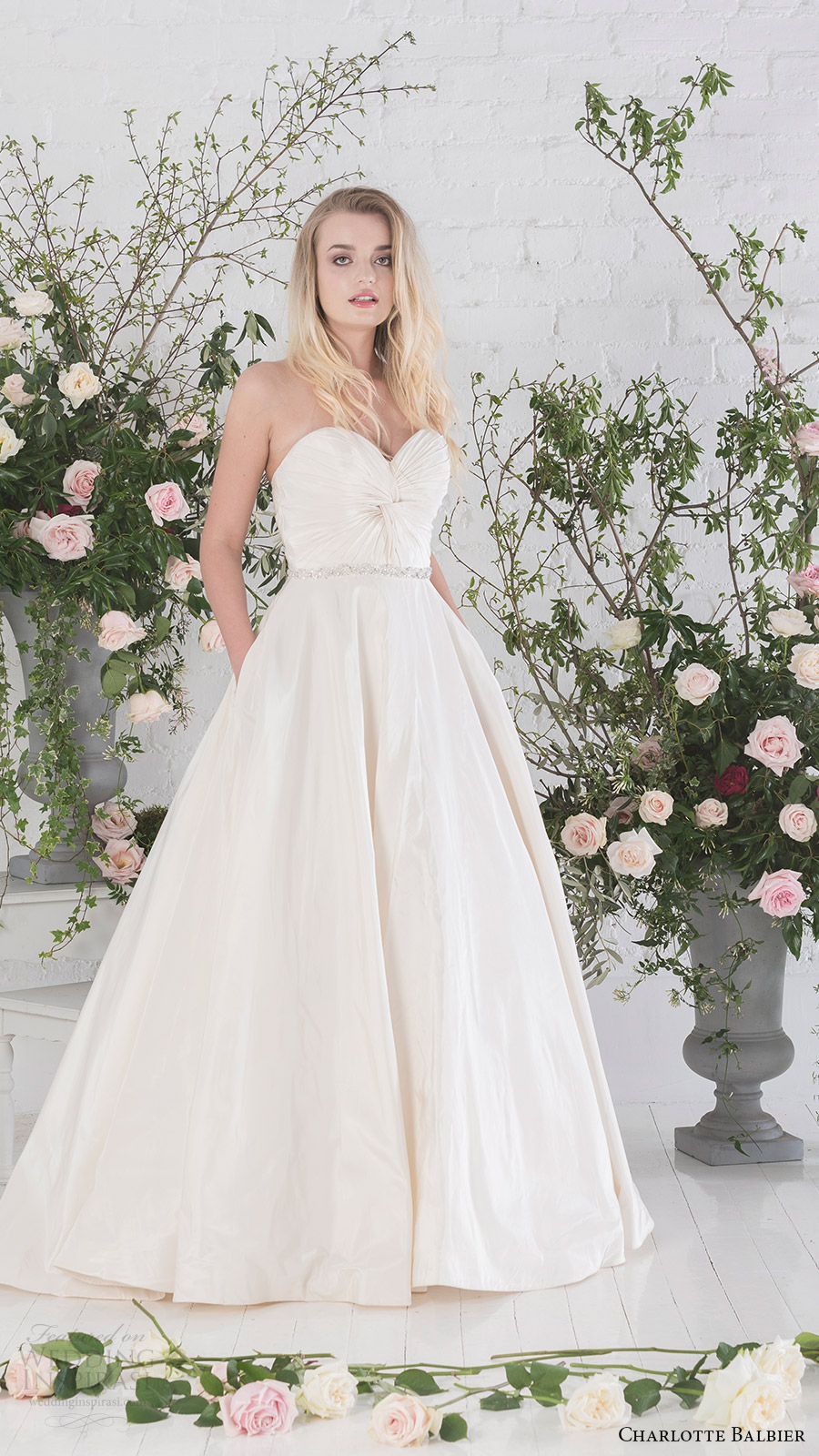 charlotte balbier bridal 2017 strapless sweetheart aline wedding dress (agatha) mv pockets