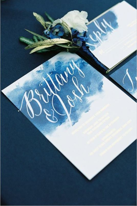 Navy Watercolor Invitation Suite