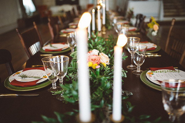 Candle table runner | Kate Rose Creative Group and Tim Waters Photography