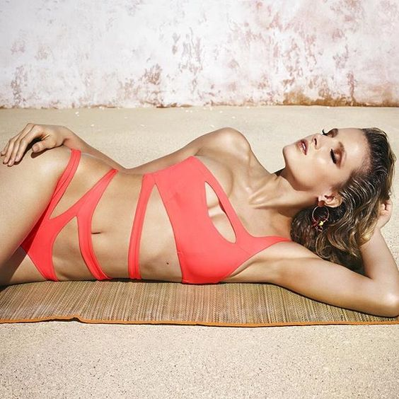 assymetrical bandage one piece swimsuit