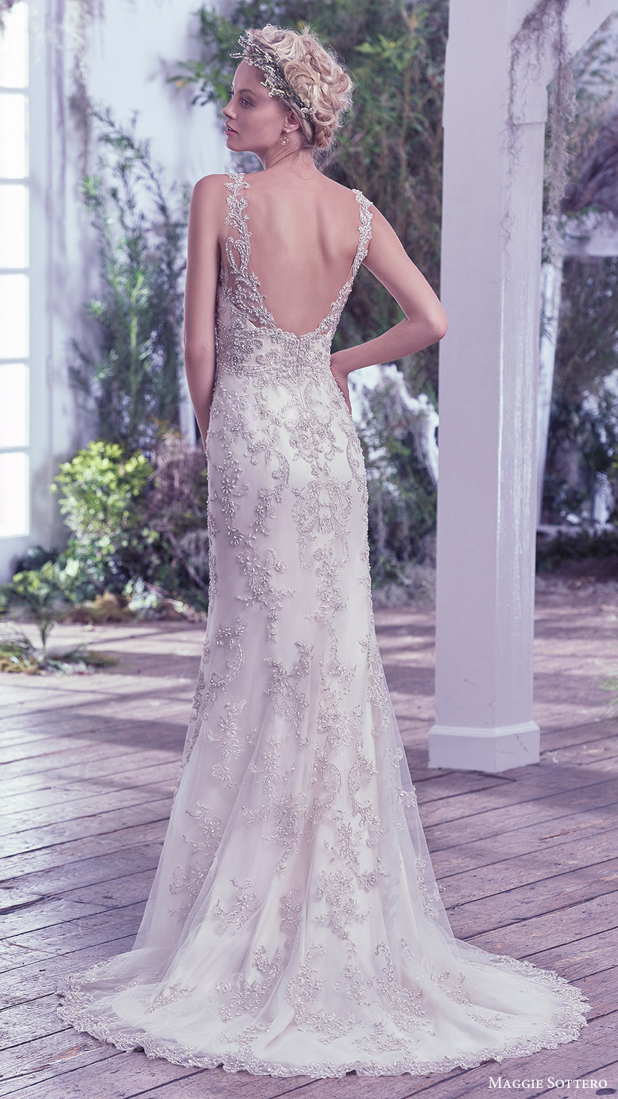 maggie sottero bridal fall 2016 sleeveless vneck sheath wedding dress (greer) bv fully embellished bodice low back train