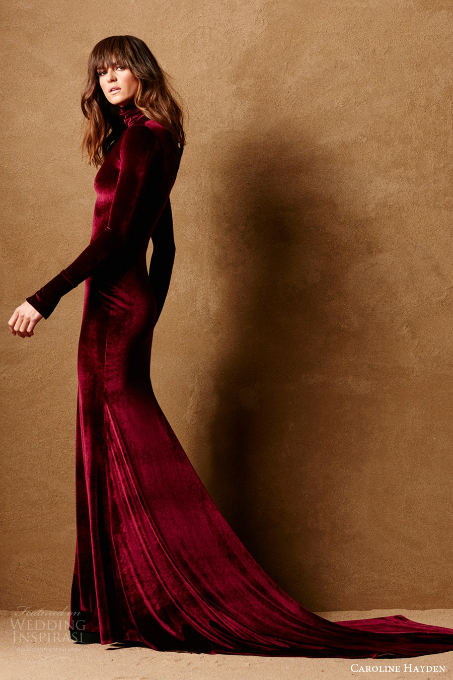 caroline hayden bridal 2017 long sleeve high neck stretch velvet trumpet wedding dress (ch020 claret) mv