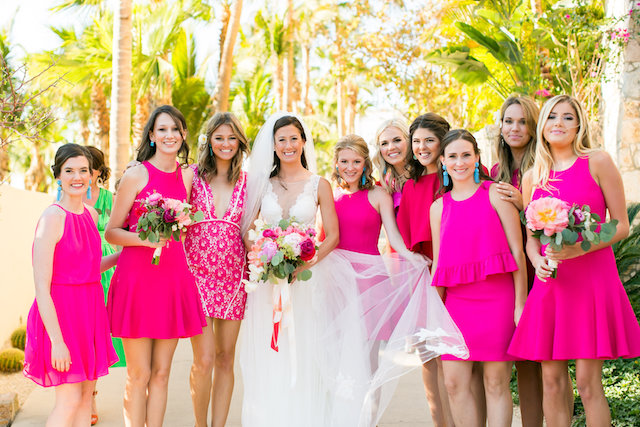 Bridesmaids in hot pink | Ana & Jerome Photography