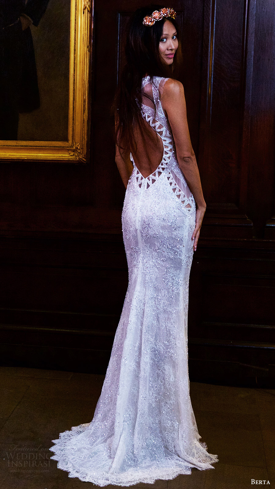 berta bridal fall 2016 sleeveless jewel neck beaded sheath wedding dress (16 117) bv keyhole train