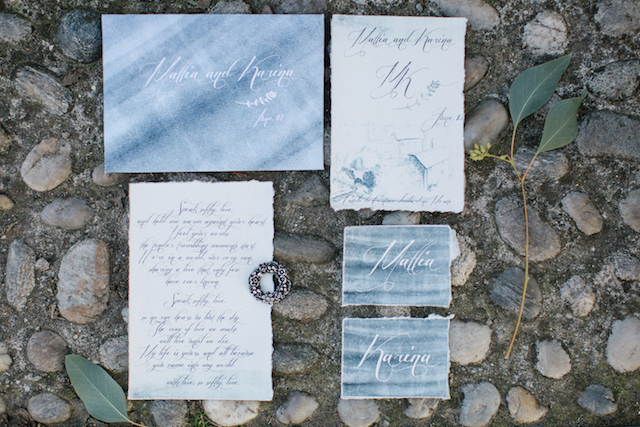 Blue watercolor wedding invitation suite | Tatjana Sozonova