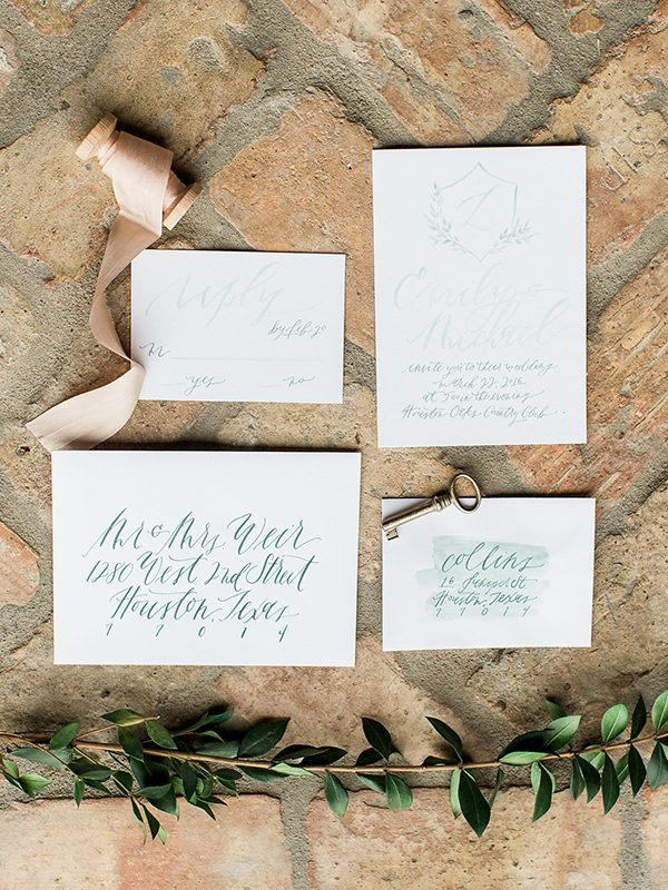 wedding calligraphy - photo by Erin Wilson Photography and Angela Sostarich Photography http://ruffledblog.com/southern-oak-tree-wedding-inspiration