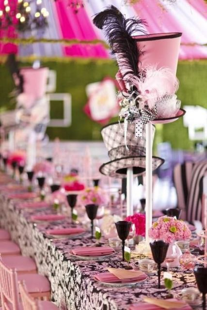 Alice in Wonderland bridal shower table idea