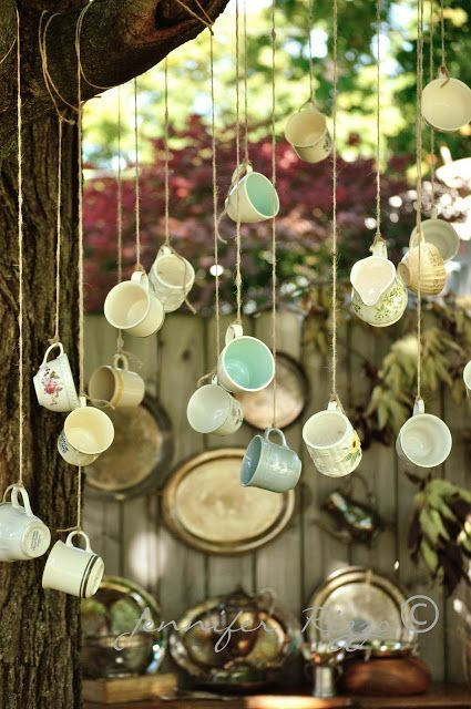 Hanging decor idea for Alice in Wonderland bridal shower