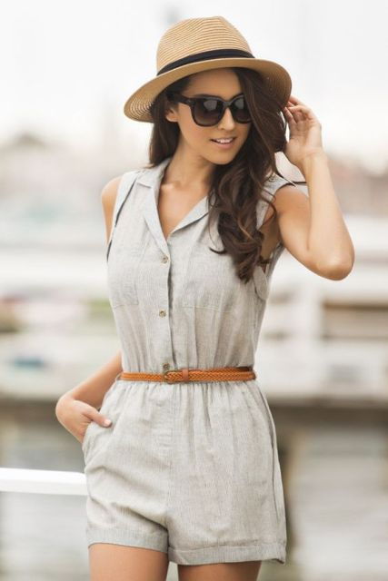 Look with romper and straw hat