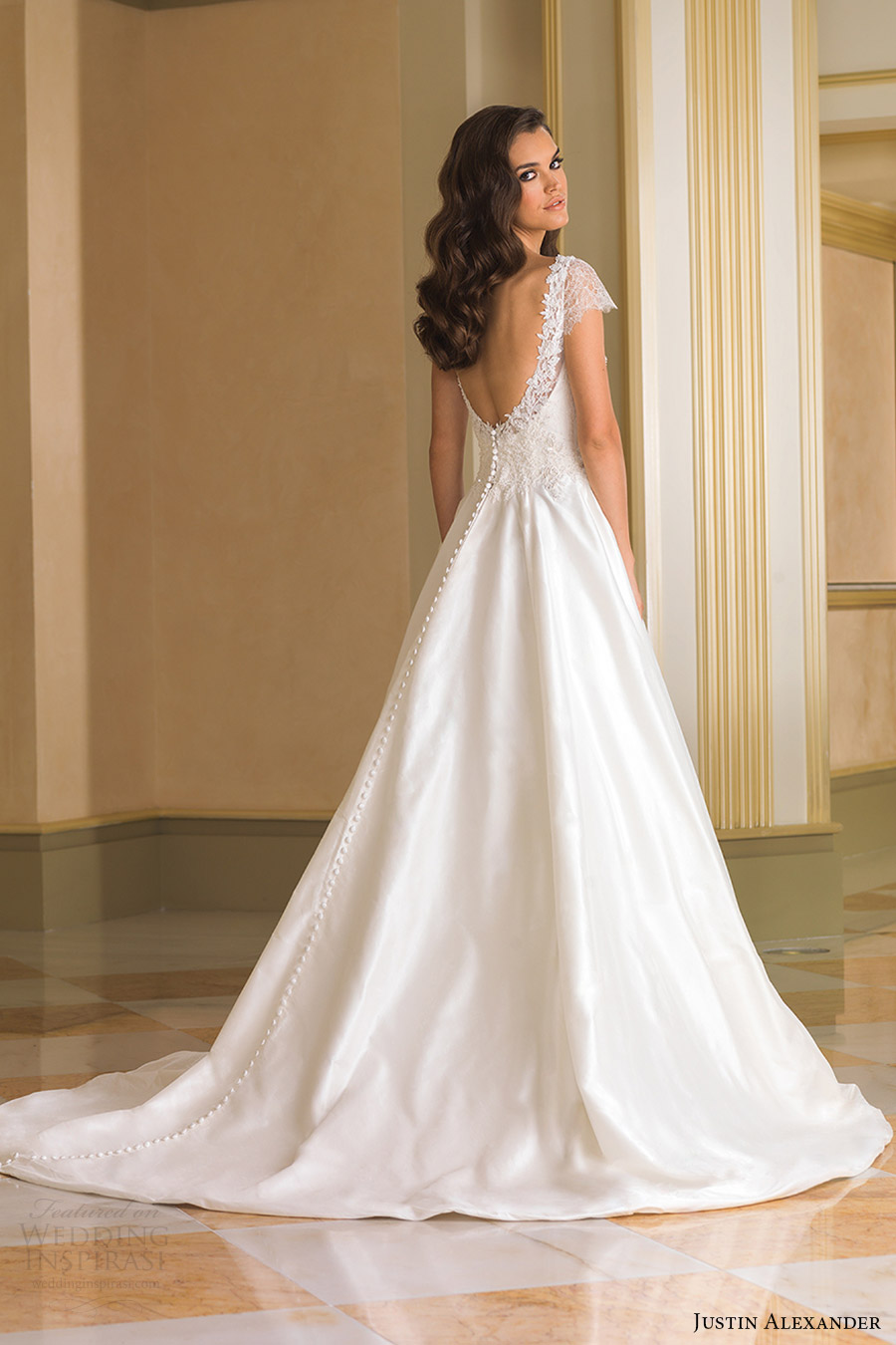 justin alexander bridal fall 2016 cap sleeves illusion bateau neck ball gown wedding dress (8852) bv train romantic