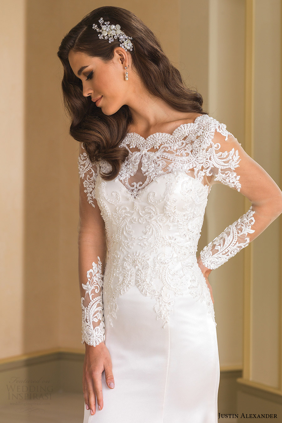 justin alexander bridal fall 2016 illusion long sleeves bateau neck trumpet beaded bodice wedding dress (8864) zv elegant