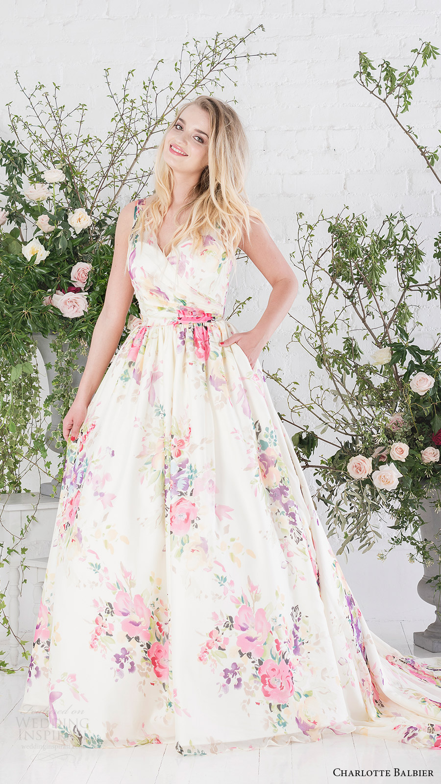 charlotte balbier bridal 2017 sleeveless vneck ball gown wedding dress (untamed love) mv floral print multicolor pocket train