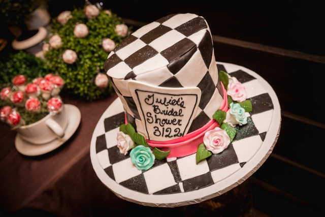 Alice in Wonderland bridal shower cake
