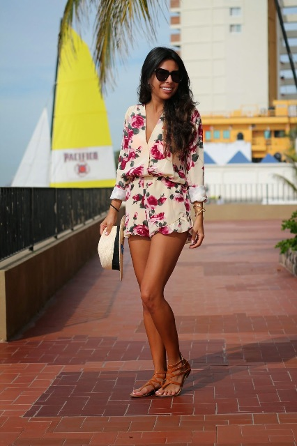 Long sleeved romper with flat sandals