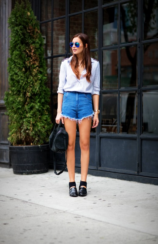 Frayed Jean Shorts And A Button Down Shirt