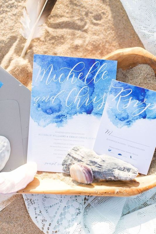 Beach Blue Watercolor Wedding Invitation