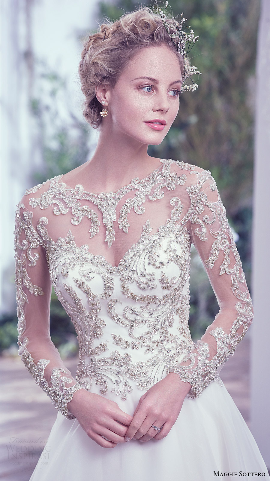 maggie sottero bridal fall 2016 illusion long sleeves sweetheart jewel neck ball gown wedding dress (lorenza) zfv embellished bodice romantic
