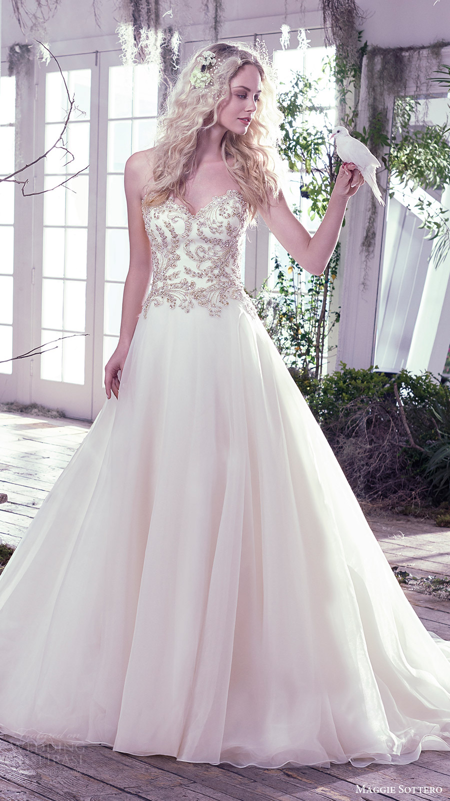 maggie sottero bridal fall 2016 strapless sweetheart ball gown wedding dress (lorenza) fv
