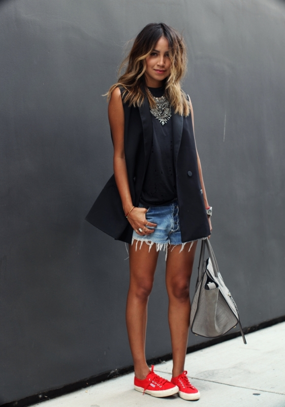 Frayed Jean Shorts And A Black Blazer