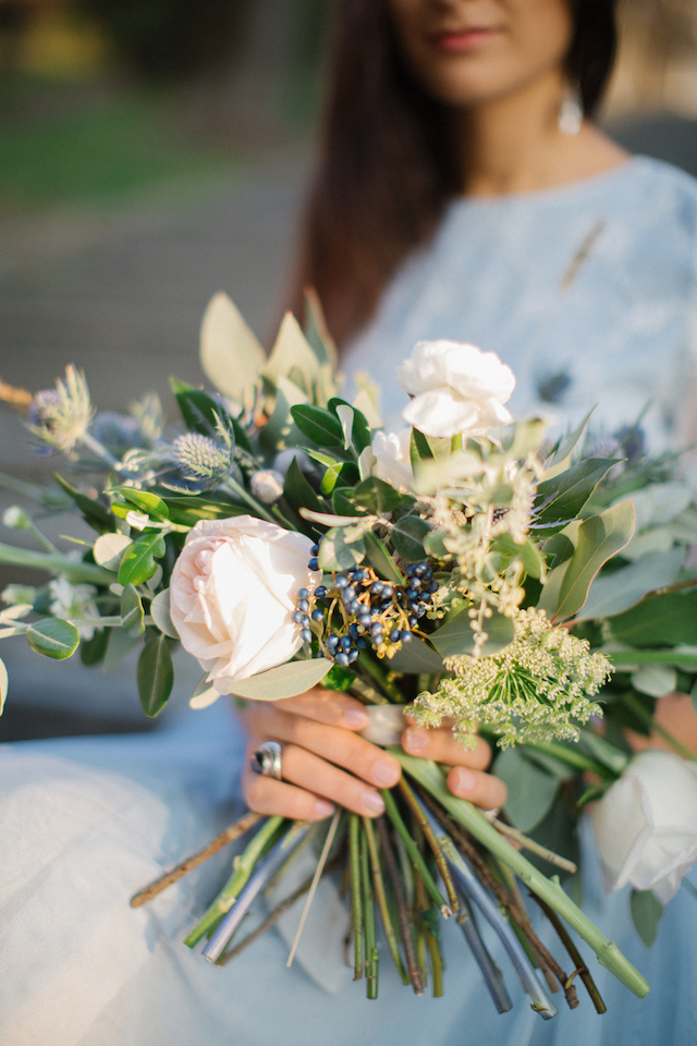 Blue and eucalyptus bridal bouquet | Tatjana Sozonova