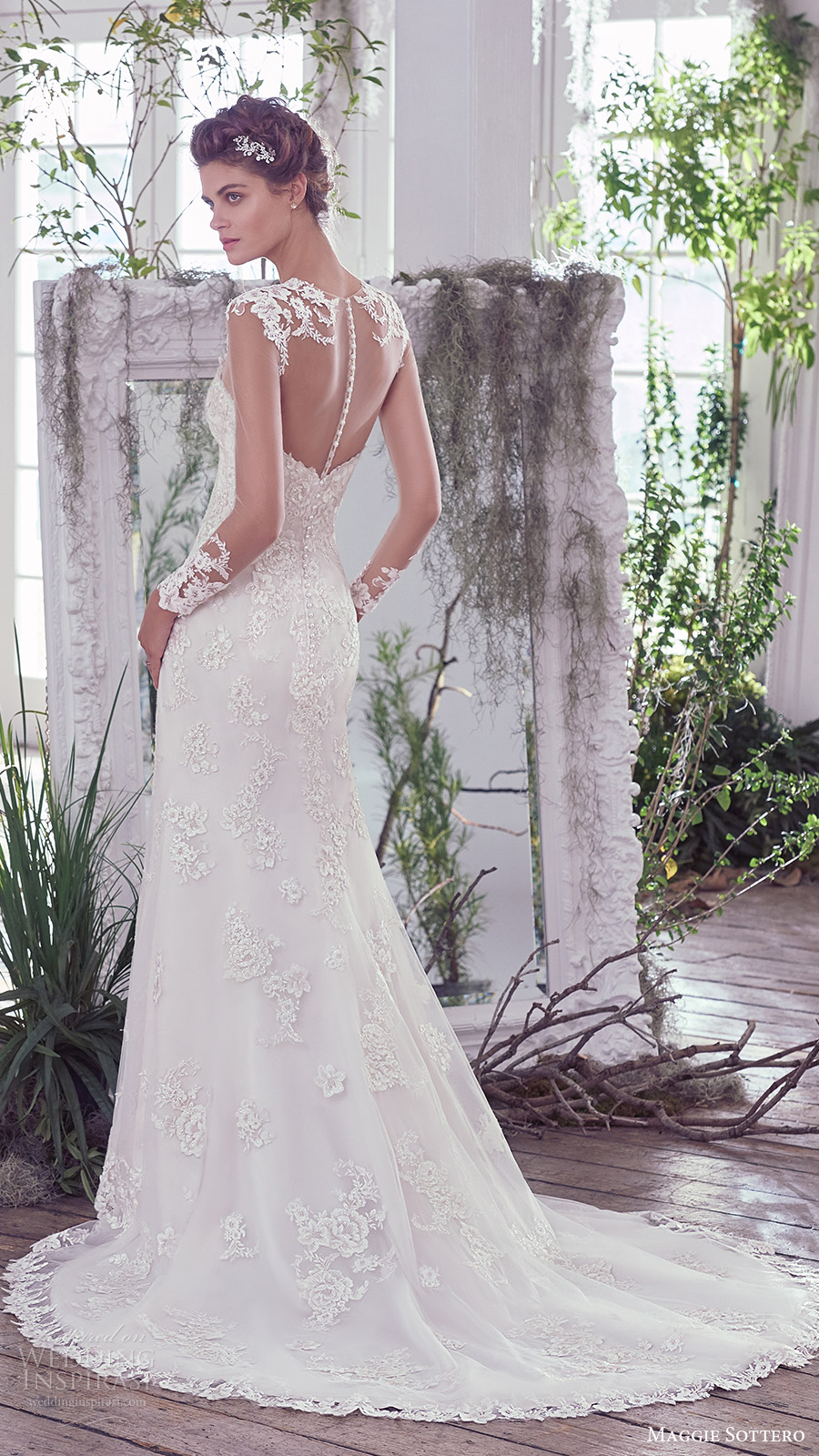 maggie sottero bridal fall 2016 long sleeves sweetheart illusion jewel neck lace sheath wedding dress (rosaleigh) bv sheer back train