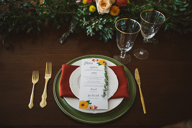 Floral wedding menus | Kate Rose Creative Group and Tim Waters Photography