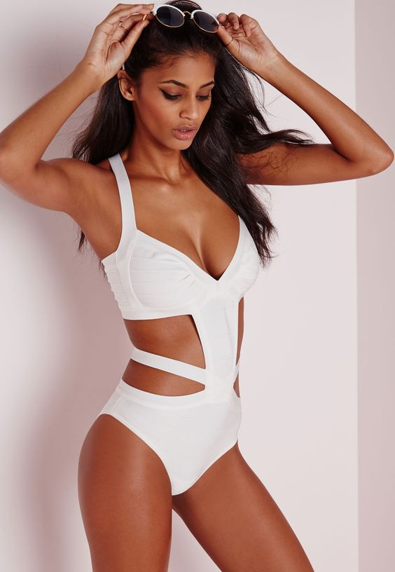 white strappy bandage one piece