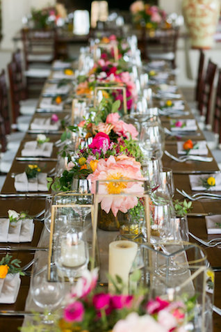 Family style reception table | Ana & Jerome Photography
